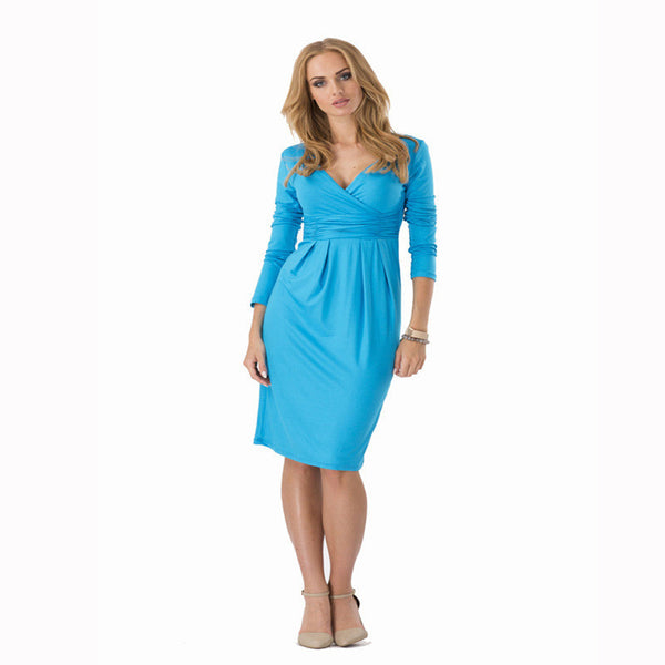 Online discount shop Australia - Big Size Ladies Office Work Dress Elegant V-neck Long Sleeve Pleated Slim Dress 6 Colors Bodycon Package Hip Vestidos M0404