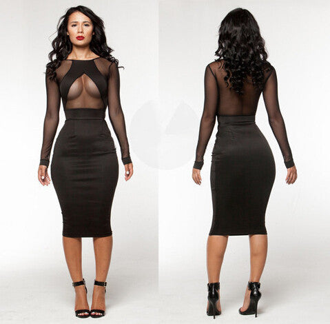 Online discount shop Australia - Clubwear Party Night Club Dress Mesh Long Sleeve Black Lace Dress Bodycon Bandage Womens Sexy Dresses Summer Midi Dress