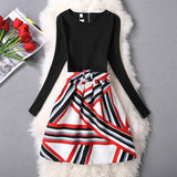 Women Dress A-Line Mini O-Neck Long Sleeve Casual Party Evening Elegant Dress Plus Size