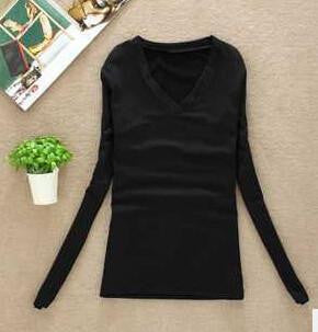 Women T-shirt Slim sexy v-neck long sleeve T-shirt Women Pure color