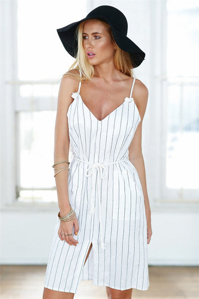 Women Summer Casual Dress V-neck White Striped Dress Loose Style Casual Vestidos Robe Boho High Quality