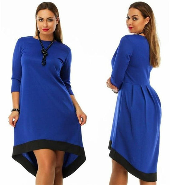 Online discount shop Australia - Fashion plus size women clothing 6xl winter dress O-neck solid Dress casual women loose dress big sizes