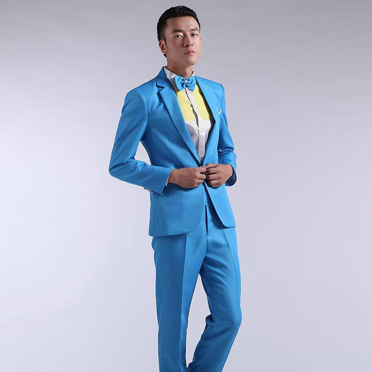 Suit Men New Long-Sleeved Men's Suits Dress Hosted Theatrical Tuxedos For Men Wedding Prom Red Yellow Blue And Green M L XLBlueMa
