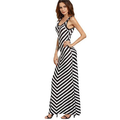 Womens Summer Long Dresses Casual Black and White Striped Chevron Print Scoop Neck Sleeveless Maxi Tank Dress