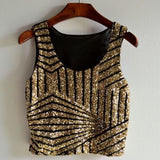 Women top Fashionable Striped Gauze Sequin Splicing Sexy Short Tank Crop Tops