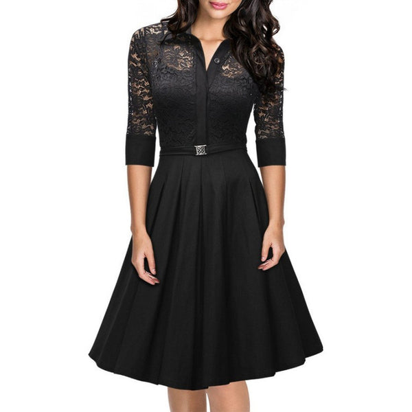Online discount shop Australia - Fashion Women's Vintage 1950s Style 3/4 Sleeve Black Lace Flare A-line Dress New Nu