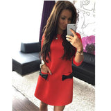 Winter Straight Plus Size Mini Dress New Arrival Women Pockets bow Bottoming Casual Three Quarter Sleeves Solid Dress LJ1214M