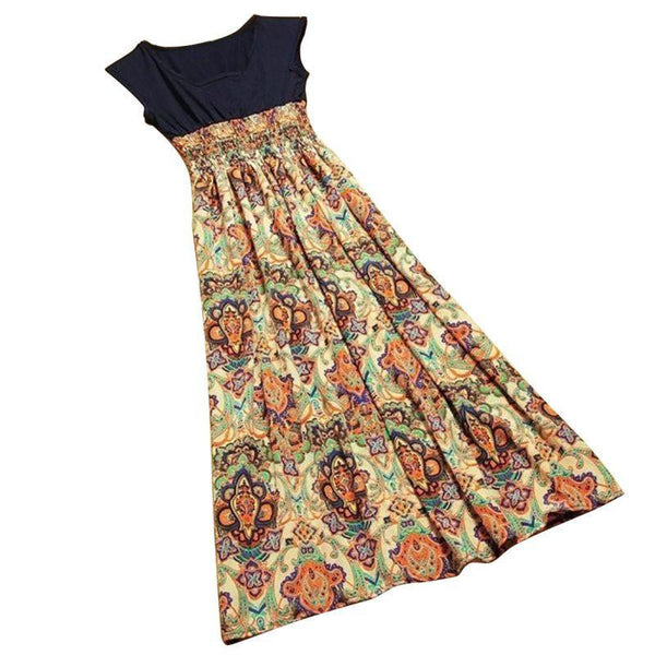 Women Casual Bohemian Dress Vintage Print Patchwork Long Summer Beach Dresses