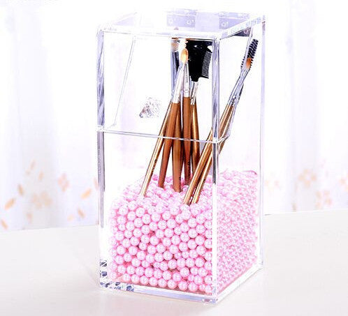 Online discount shop Australia - Crystal Acrylic Makeup brush Organizer cosmetic storage box Makeup tool Flashing pencil holder Lipstick Organizer cosmetic case