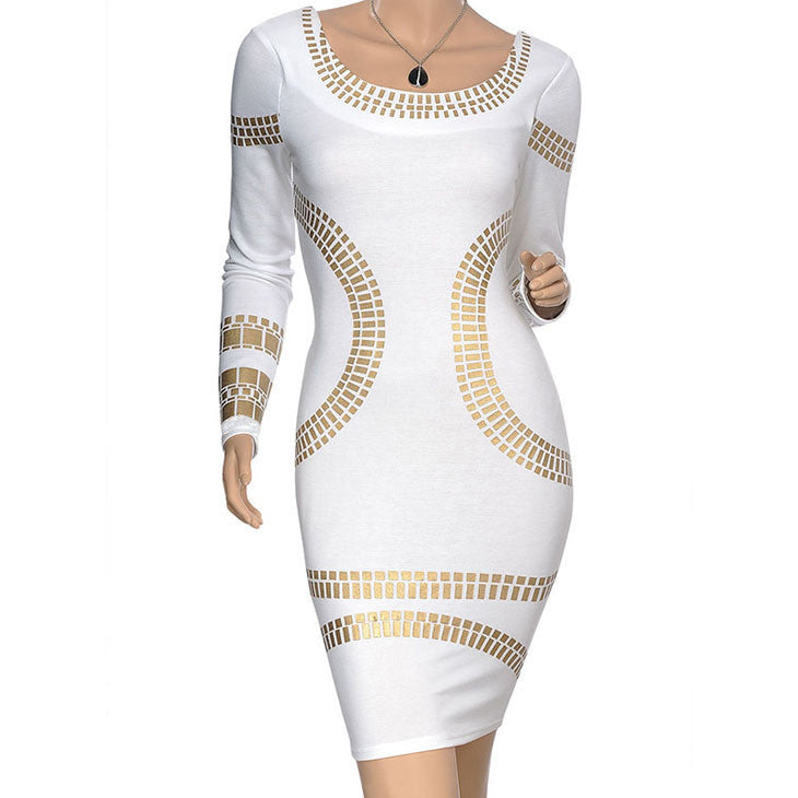 New Arrival Autumn and Winter Warm Cotton Pencil Dress Round Neck Long-sleeved Mini Dress Women's Sexy Slim DresswhiteXLa