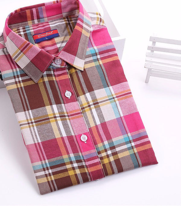 7def67ed44b Cotton Plaid Shirts Women Blouses Long Sleeve Ladies Office Tops Flannel  Shirt Plus Size Clothing For