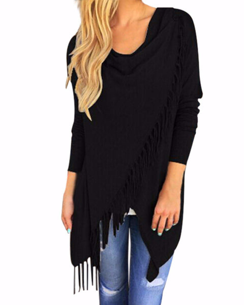 Women Tassels Irregular Hem Long Sleeve Blouses Shirts Casual Cardigan Solid Color Plus Size Tops