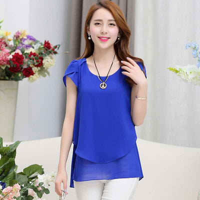 Plus size women chiffon blouses shirts o neck short sleeve double irregular solid fashion casual ladies tops