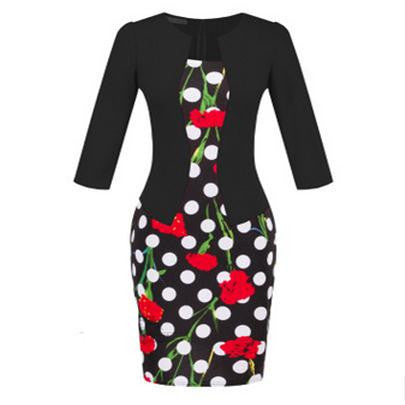 Online discount shop Australia - Autumn dress women bodycon dress fall office dresses for women clothes vetement femme vestidos flores ropa oficina vestido S122