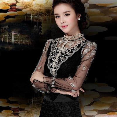 Online discount shop Australia - Crochet Long Sleeve Shirts Vintage Women Blouses Chiffon Women Lace Tops