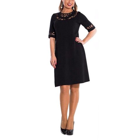 Online discount shop Australia - Lace Dress Half Sleeve Large Size Women Clothing Autumn Dress Women's O-Neck Knee-Length Dresses Plus Size