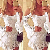 Women Lace Off Shoulder Long Sleeve Dress Bodycon Bandage Casual Mini Dresses Party
