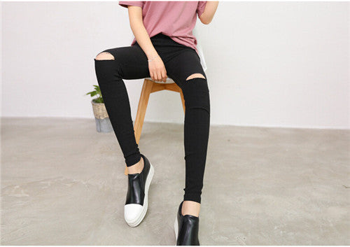 Online discount shop Australia - Cotton High Elastic Imitate Jeans Woman Knee Skinny Pencil Pants Slim Ripped Boyfriend Jeans For Women Black Ripped Jeans