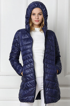 Down Jacket Hooded Duck Down Jackets Women Slim Long Sleeve Parka Zipper Coats Pockets Solid Women Ultra Light