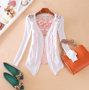 Online discount shop Australia - Clothes Women Clothing New Lace Sweet Crochet Knit Blouses Sweater Cardigan Lace Blouse Jacket