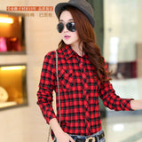 Online discount shop Australia - Brand New Fashion Women Blouses Long Sleeve Turn-down Collar Plaid Shirts Women Cotton Plus Size Casual Shirt Style