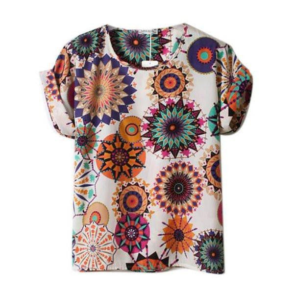 Selling Lots Women Lady Batwing Chiffon Top T-Shirt Casual Printed Tops Shirts Women Clothes