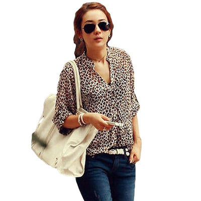 New Women's Stand Collar Loose Roll Sleeve Office Chiffon Shirt Blouse Leopard Print Tops