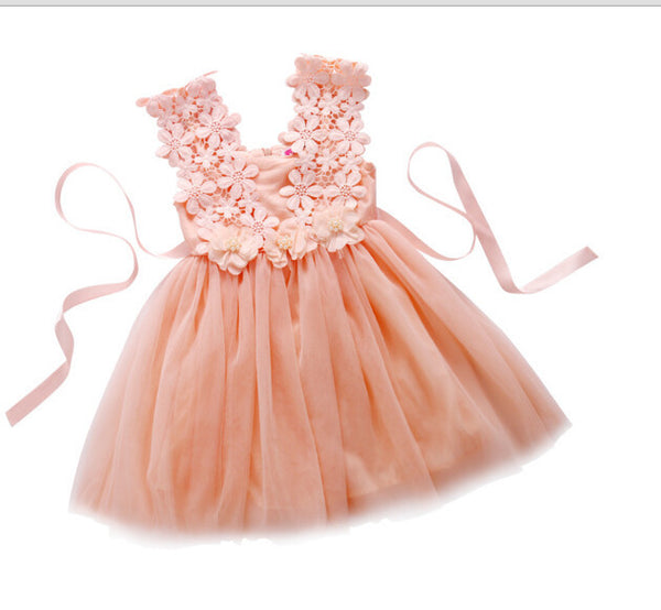 5ca8c2110 New XMAS Baby Girls Party Lace Tulle Flower Gown Fancy Dridesmaid Dress  Sundress Girls Dress