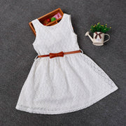 Online discount shop Australia - 2-8 Years New Gift Lace Vest Girls Dress Baby Girl Cotton Dress Chlidren Clothes Kids Party Clothing For Girls Free Belt