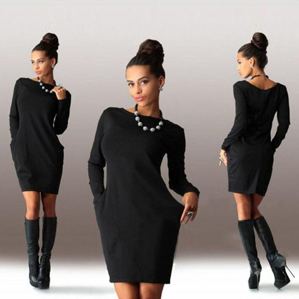 Women Dress O neck Long Sleeve Office Dress Fashion Slim Bodycon Dress Women's Mini Dresses
