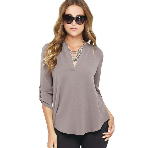 Women Blouses Cross Front Split Back Sexy Chiffon Blouse Long Sleeve Ladies Tops Shirts Plus Size