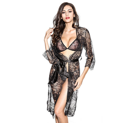 Online discount shop Australia - Black eyelash lace nightdress Nightgown Sexy lace-up three-piece luxury temptation