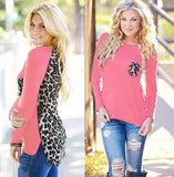 Online discount shop Australia - Loose Plus Size Leopard Chiffon Blouse for Women Lady Long Sleeve Blouse Casual Tops Pocket design Women Shirts J6123