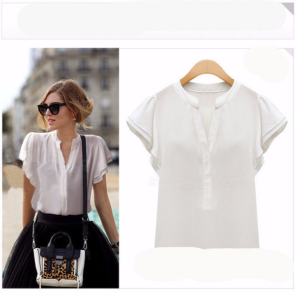 New Women Blouses Ruffle Short Sleeve Chiffon Shirts Plus Size Female Tops Women's Clothing Ladies Clothes For Vintage Body