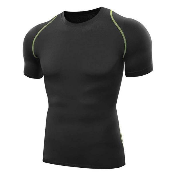 Online discount shop Australia - Men T Shirts O-Neck Compression T Shirts Tops Tights Fitness Base Layer Tops Short Sleeve S-XXL