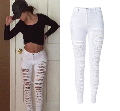 Online discount shop Australia - Fashion Army Green Black White Sexy Ripped  Jeans Women 8052382740f5