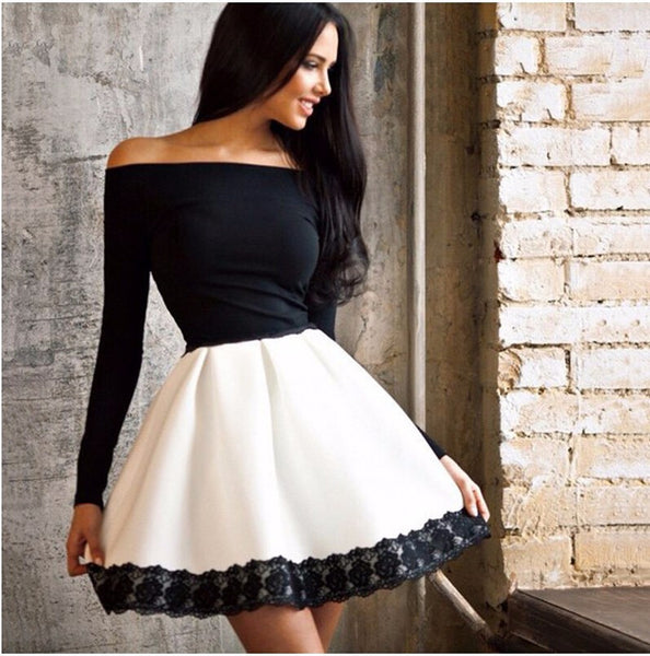 Online discount shop Australia - autumn new long sleeved lace patchwork fashion women dress sexy Off shoulder strapless Slash neck tunic dresses plus size