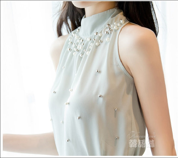 New Women Beading Chiffon Blouse Korean Fashion Sleeveless Women Turtleneck Chiffon Blouse Shirt Women Top