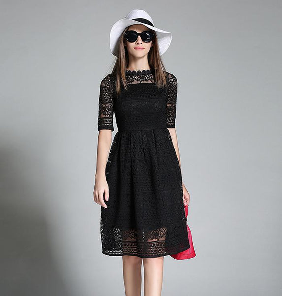 New Europe Summer Women's Temperament Lace Hollow Out Long Dresses Femme Casual Slim Clothing Women Sexy Party Dresses