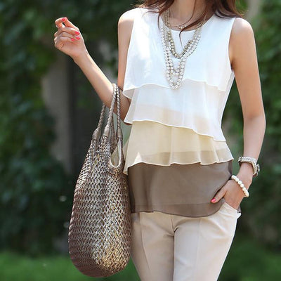 Sleeveless Spaghetti Strap Casual Tops Sexy Double Layer Chiffon Women Blouse Shirts Loose Tops S-XL-4XL