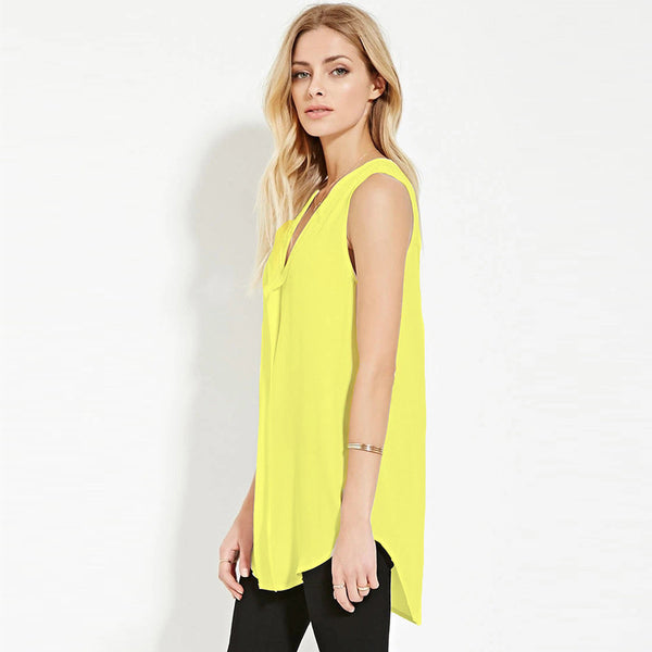 Online discount shop Australia - Boyfriend Style Long Plus Size 6XL Fashion Sleeveless V Neck Chiffon Women Blouses Tops Shirts XXXXL 5XL