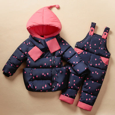 3686c204e2cc Children s Clothing Set Kids Ski Suit Overalls Baby Girls Down Coat ...