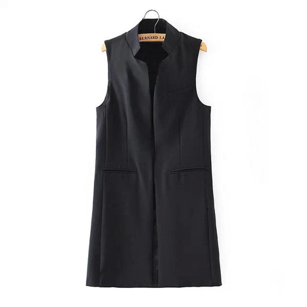 Women Long Vest Jacket Fashion Open Stitch Slim Waistcoat Casual Thin Outwear Sleeveless Cardigan Plus Size