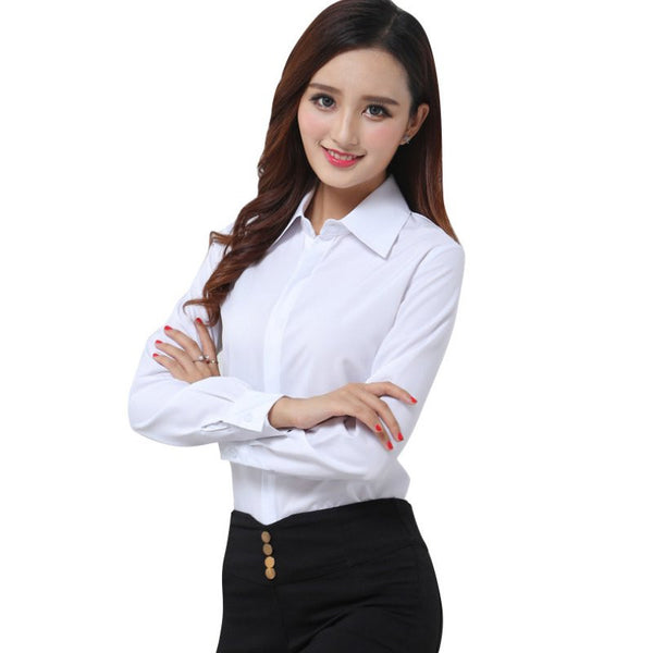 New Fashion White Blouse Shirt Women Work Wear Long Sleeve Tops Slim Ladies Office Blouses Shirts Plus Size