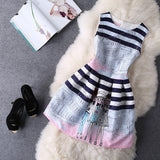 O-Neck Sleeveless Print Casual Dresses Women Vintage Princess Dress Ladies Party Clothing