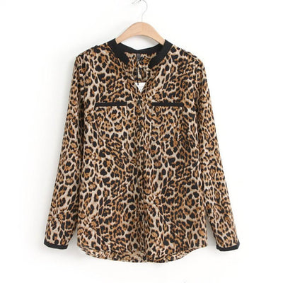 Women Blouse Leopard Print Shirt Long sleeve V -Neck Top Loose Blouses Plus Size Chiffon Shirt Clothing