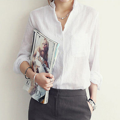 Womens Tops Fashion Linen White Shirt Women Long Sleeve Blouse Korean Woman Clothes