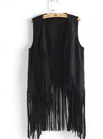 new fringed tassels faux suede sleeveless asymmetrical vest jacket