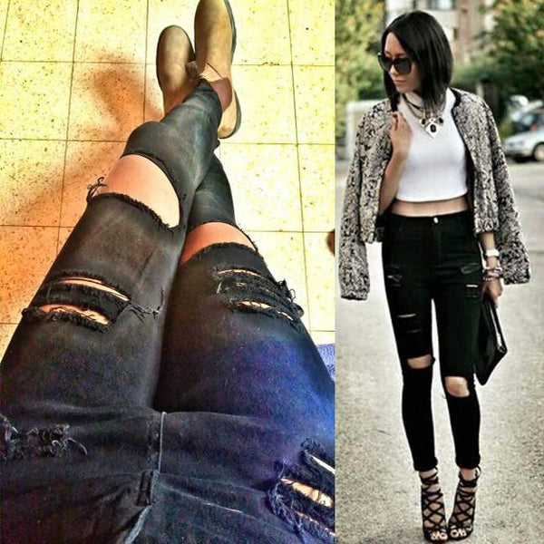 Women Casual Black High Waist Torn Jeans Hole Knee Skinny Pencil Pants Denim Ripped Jeans For Womens
