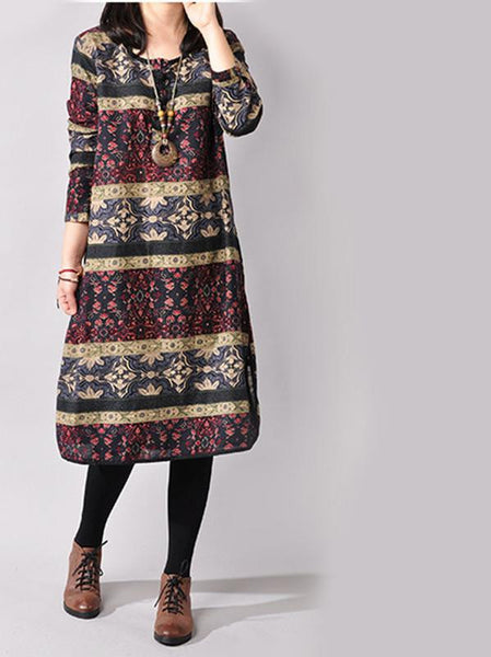Vintage Plus Size Long Sleeve Printed Ethnic Loose Cotton 3 Colors Linen Women Dress M-XXL size